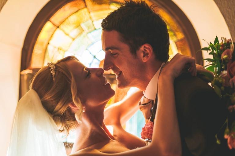 Bride and groom headshot