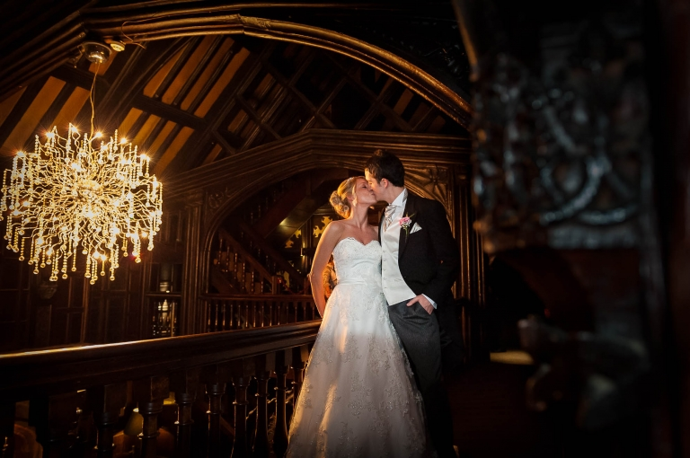 Bride and groom portrait in Mitton Hall