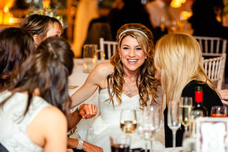 Bride share a joke with her friends