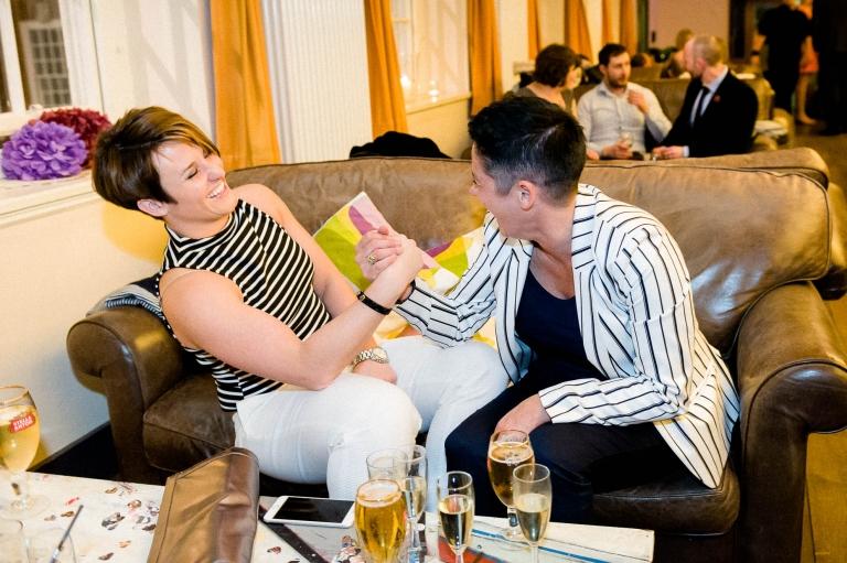guests arm wrestle