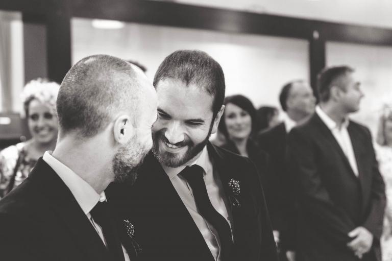 Partners share a joke
