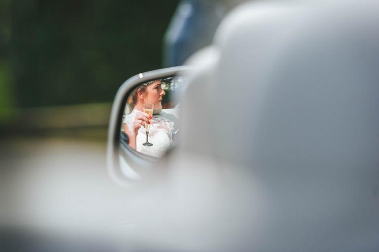 bride in reflection of mirror