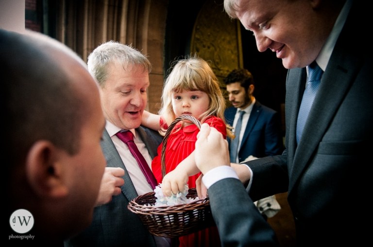 Little girl grabs some confetti