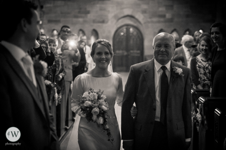 Bride arrives at the altar