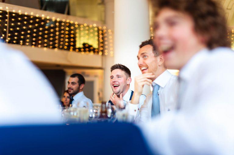 guests laugh at best mans speech