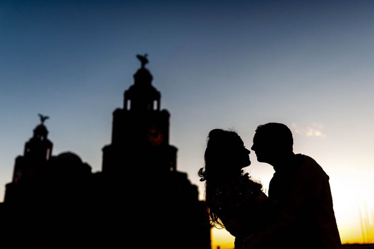 Bride and groom silhouette with Liver Building