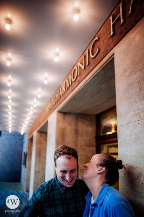 Couple outside Liverpool philharmonic hall