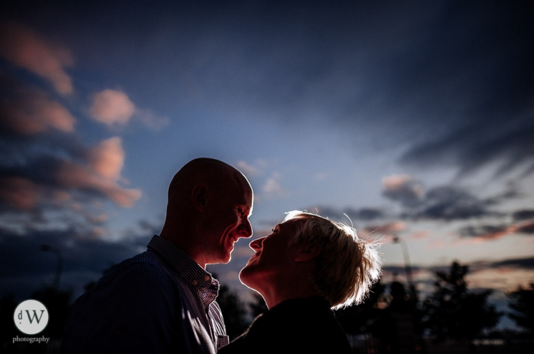 Close up of couple with big sky background