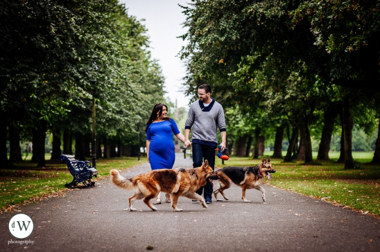 Amy & david walking with their dogs
