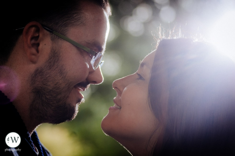 Close up profile of couple