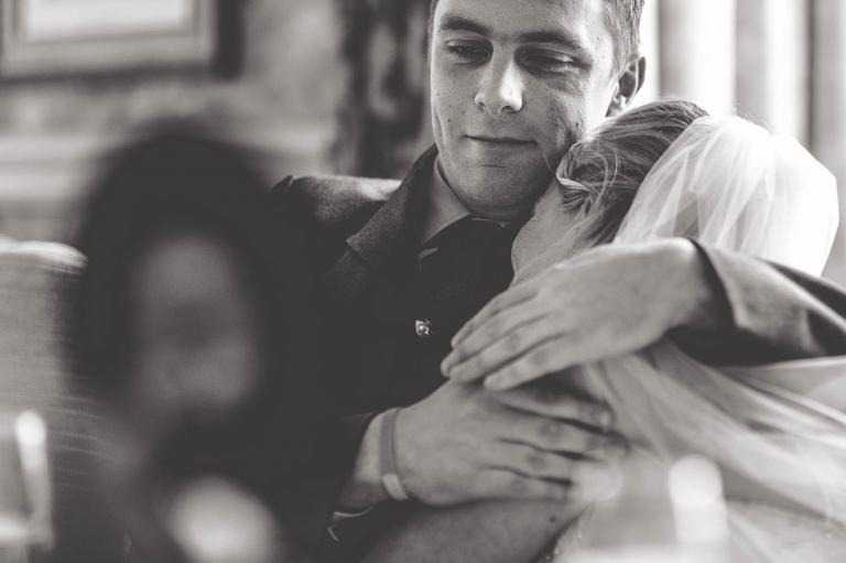 Bride hugs her son