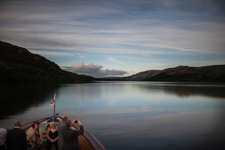 View of Ullswater lake from boat