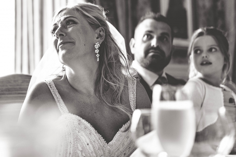 Bride gets emotional during speeches