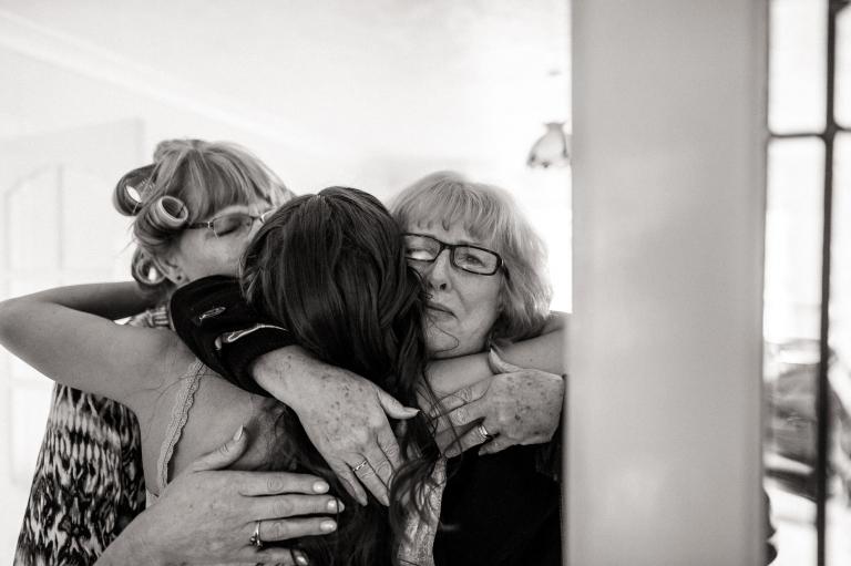 Aunt hugs bride