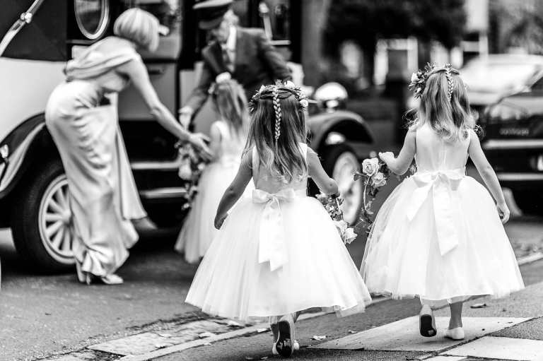 Flower girls leave for ceremony