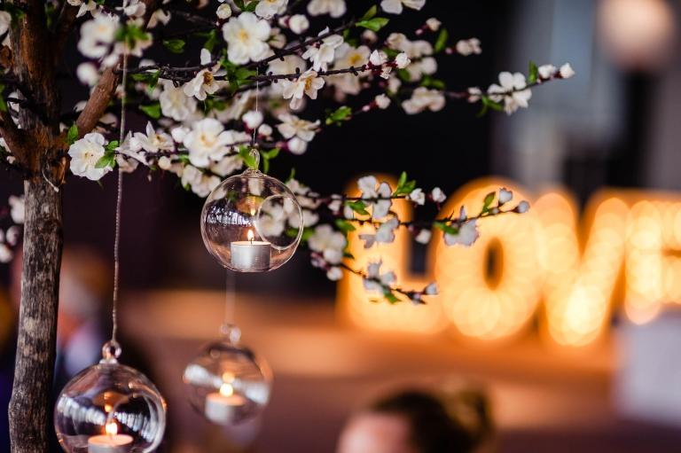 flower decorations in wedding breakfast room
