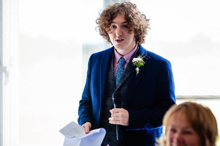 Best man gives his speech