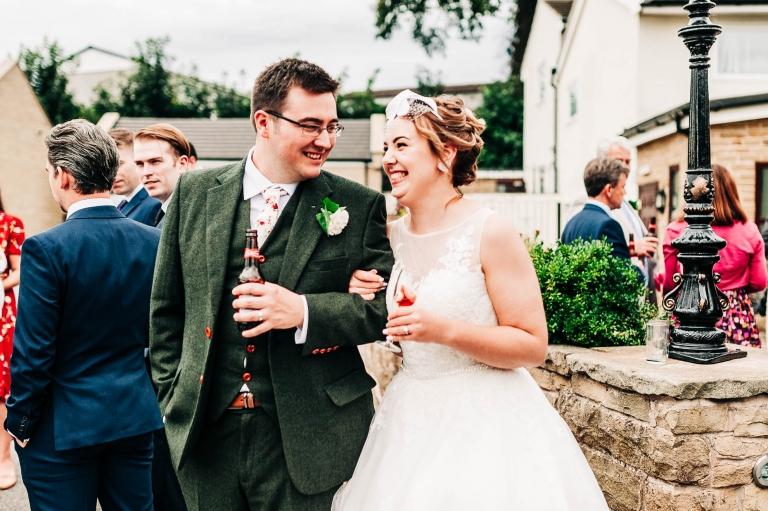 The Newly weds share a joke