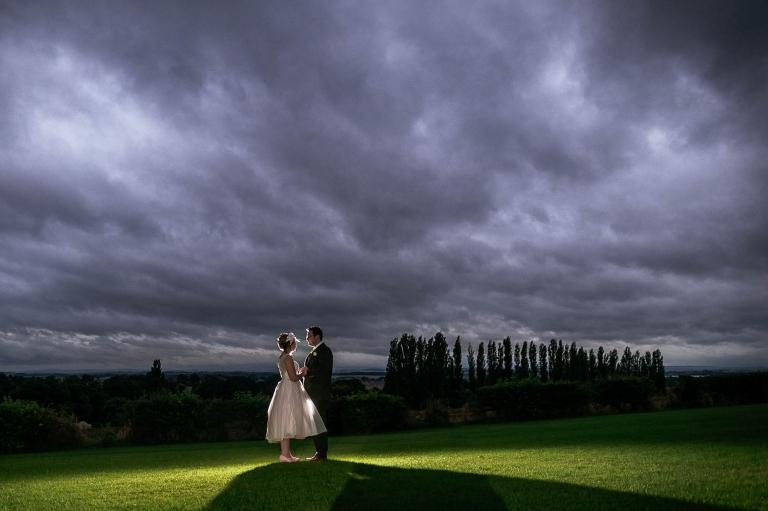 Bride and groom landscape portrait