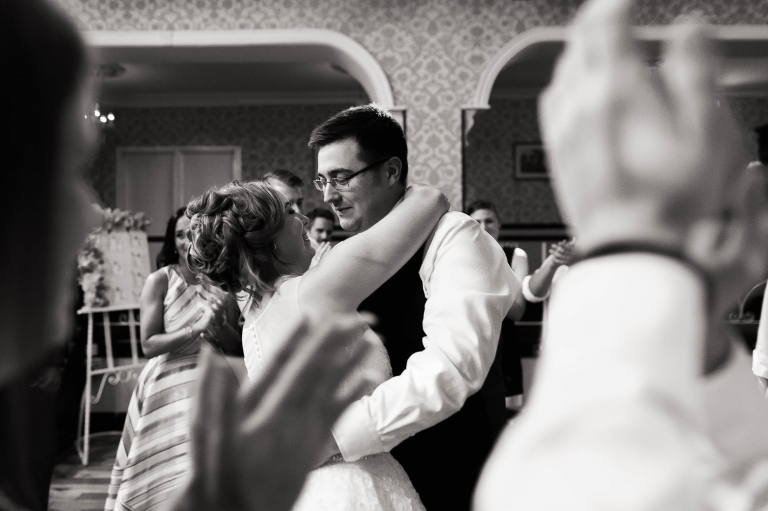 The happy couple dance together
