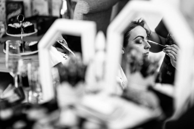 bride reflection in mirror