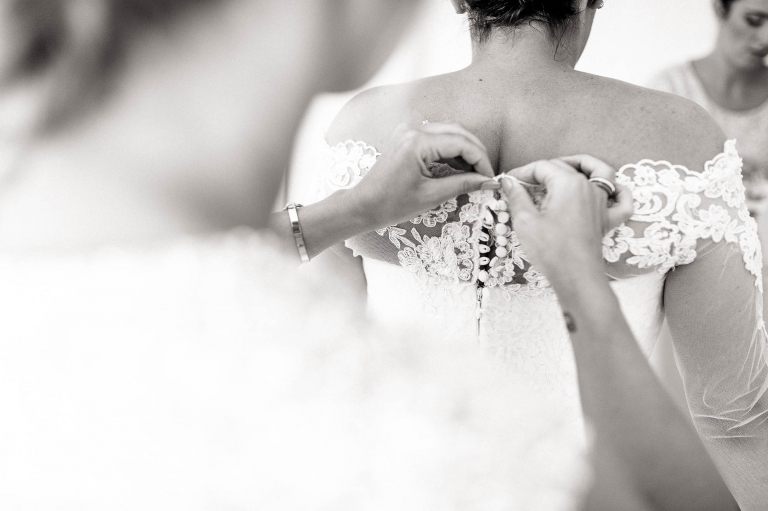 bridesmaid buttons up brides wedding dress