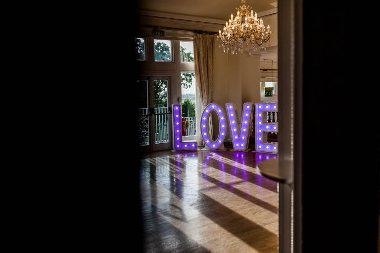 Love sign in wedding breakfast room