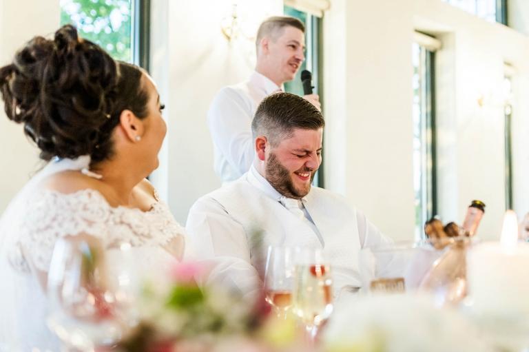 groom is embarrassed by best man's speech