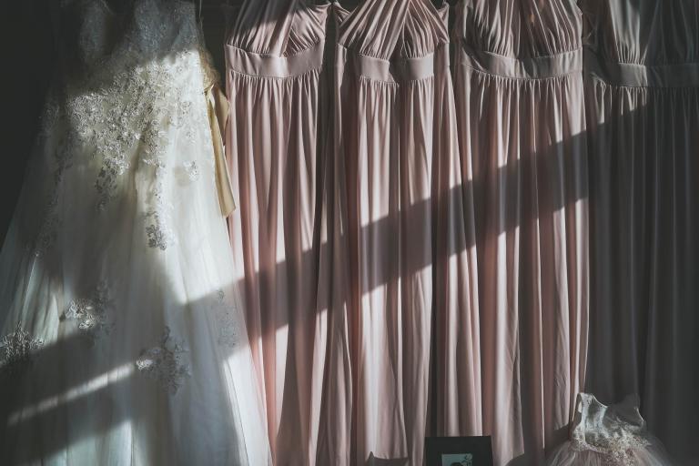 brides wedding dress and bridesmaids dresses