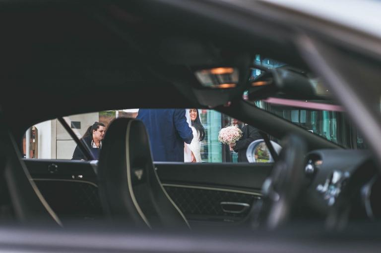 bride shot through car window