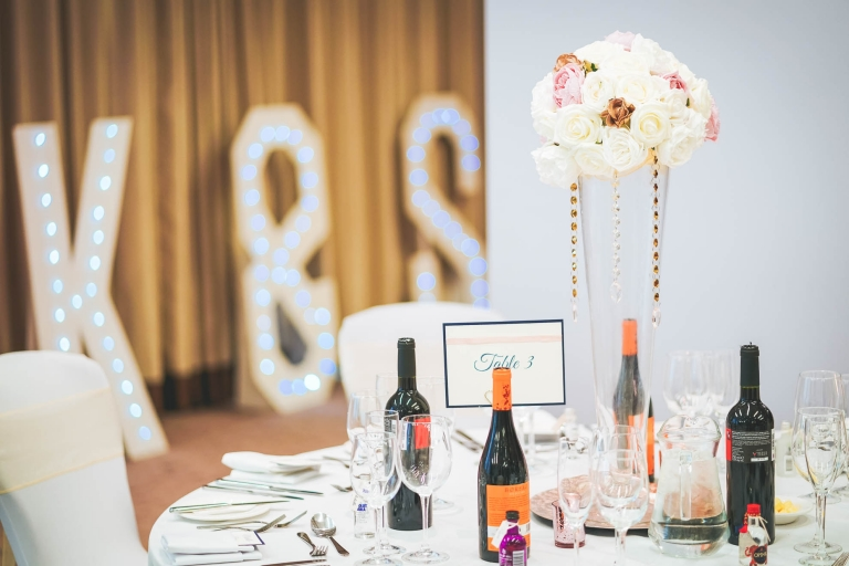 table decorations in wedding breakfast room