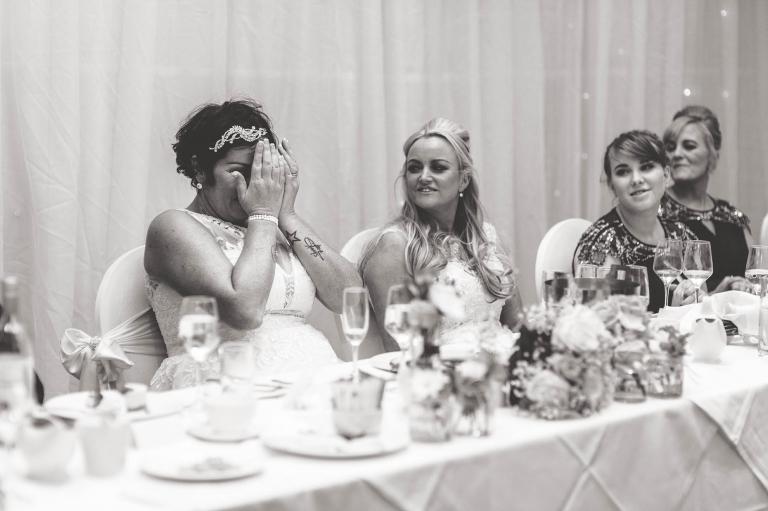 bride hiding face