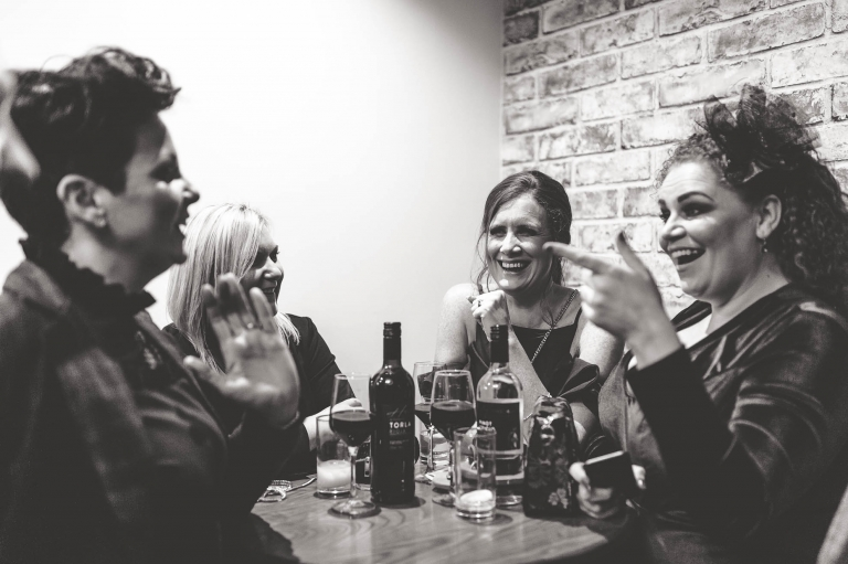guests share a joke
