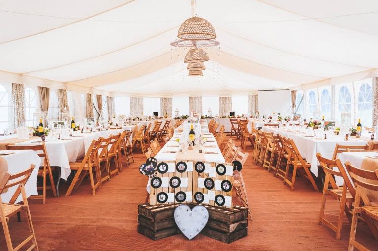 Wedding breakfast in marquee