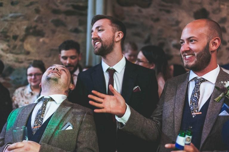 Best man and friends having fun