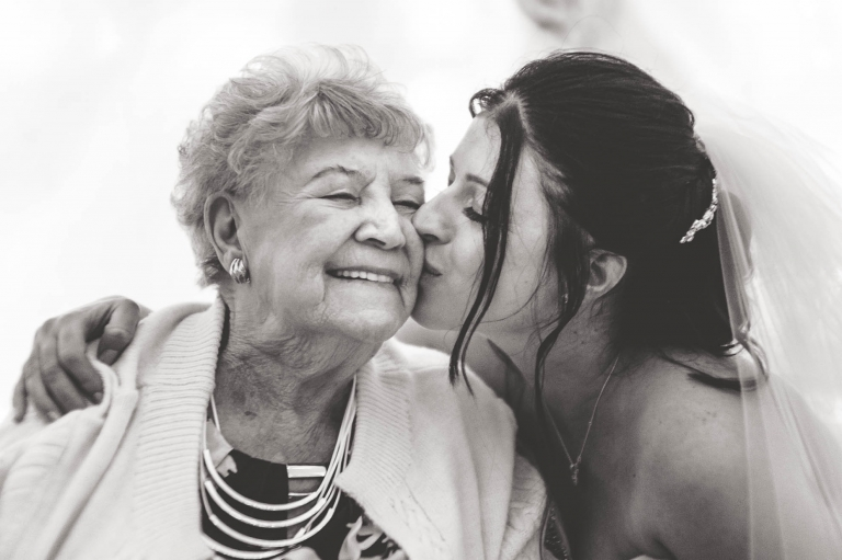 Bride gives nan a big kiss