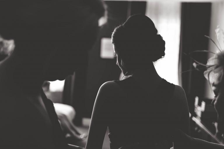 silhouette of bridesmaids