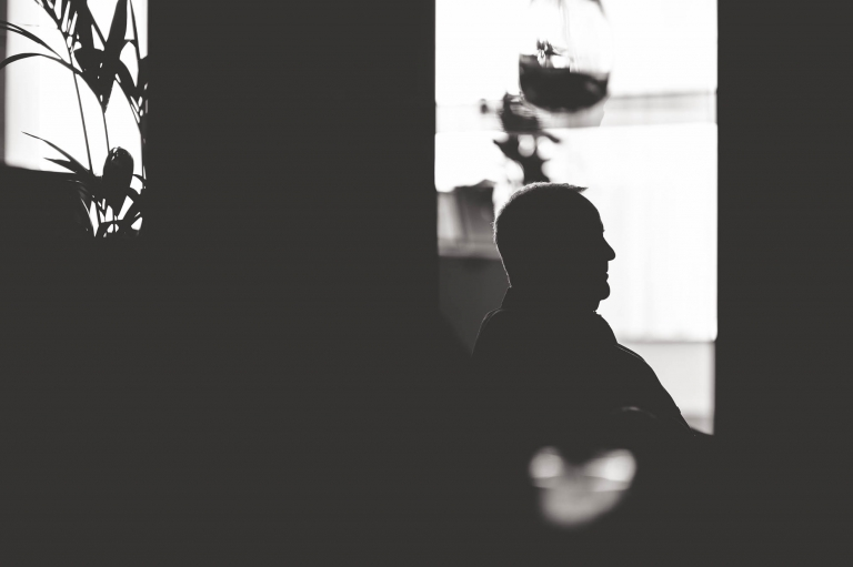Silhouette of father of the bride