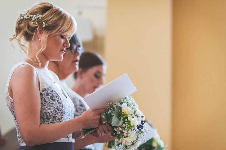 Bridesmaids singing hymn