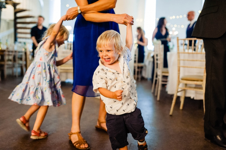 Kids dancing during the wedding reception