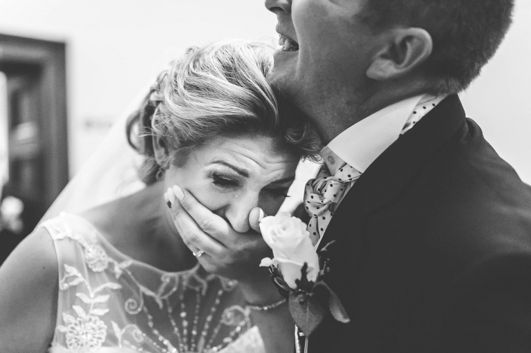 Bride becomes emotional after the wedding ceremony