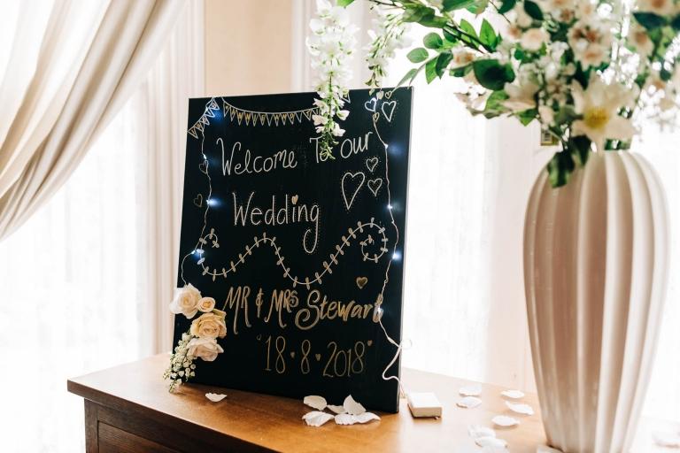 Blackboard announcing the wedding