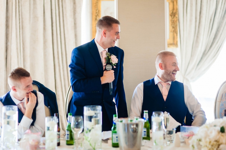 Best man makes fun of the groom during the speeches