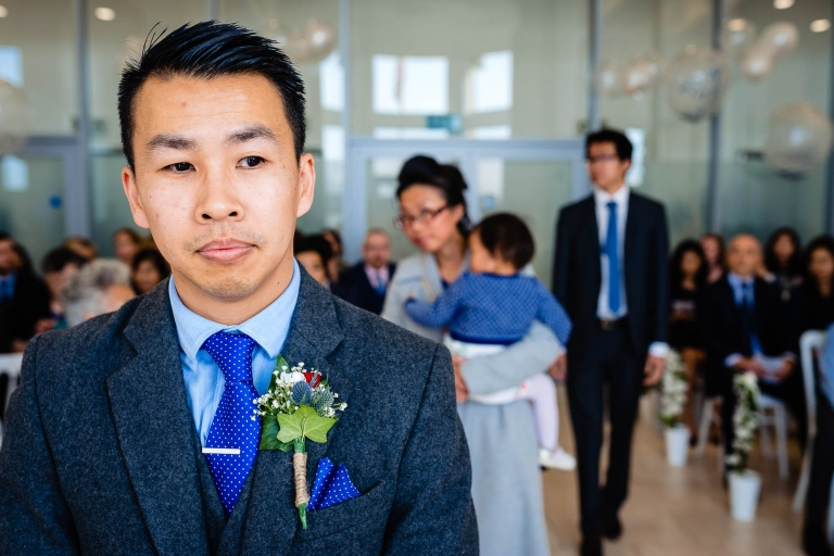 Groom waits for his bride before the ceremony