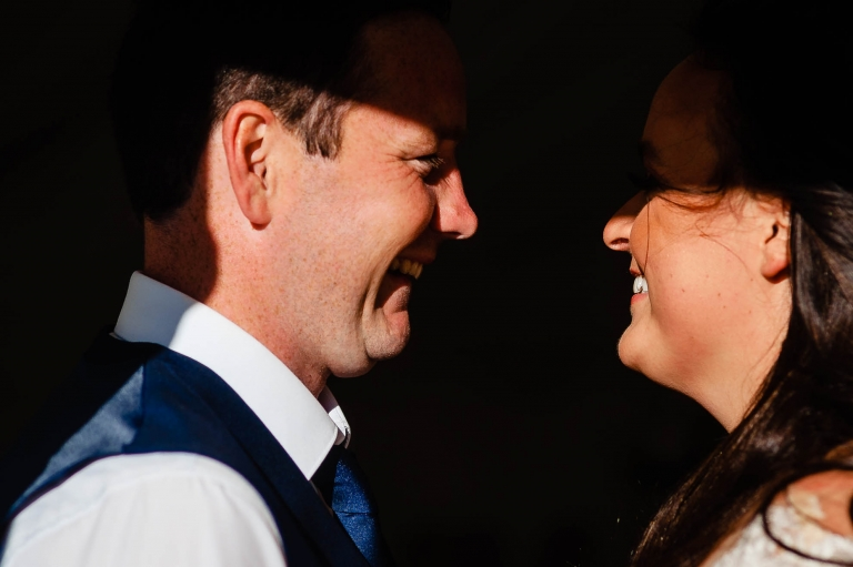 Newlyweds laugh together