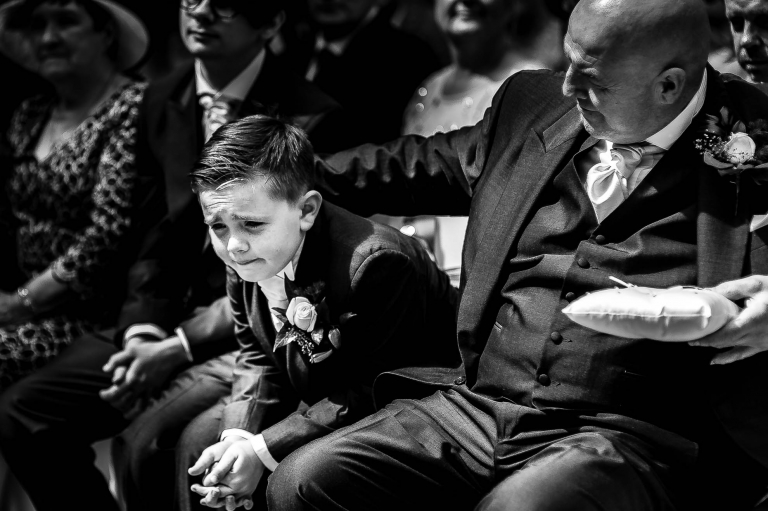 Page boy gets emotional during wedding ceremony