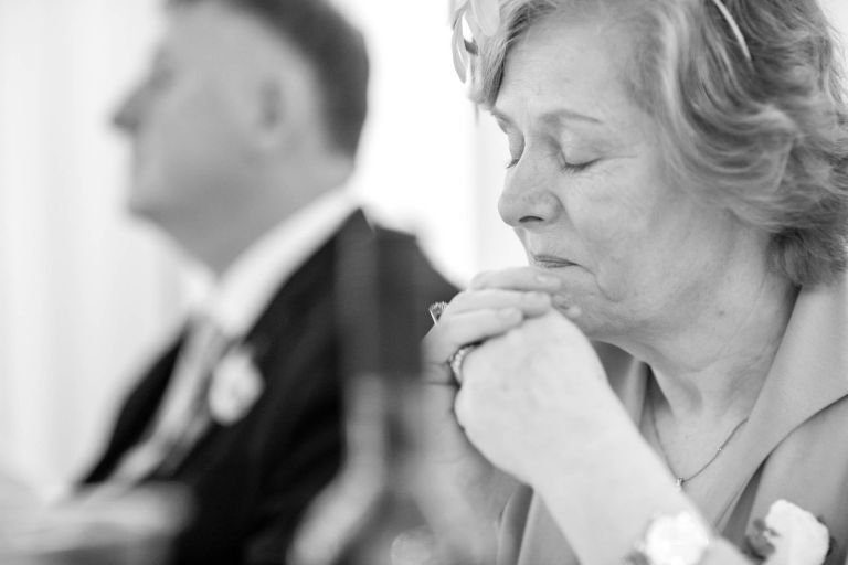 Mother of the groom becomes emotional during grooms speech