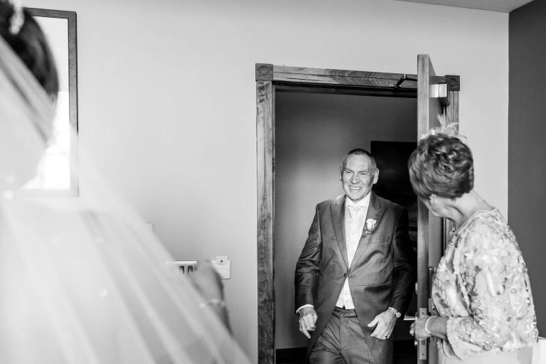 Bride reveals her dress to her father