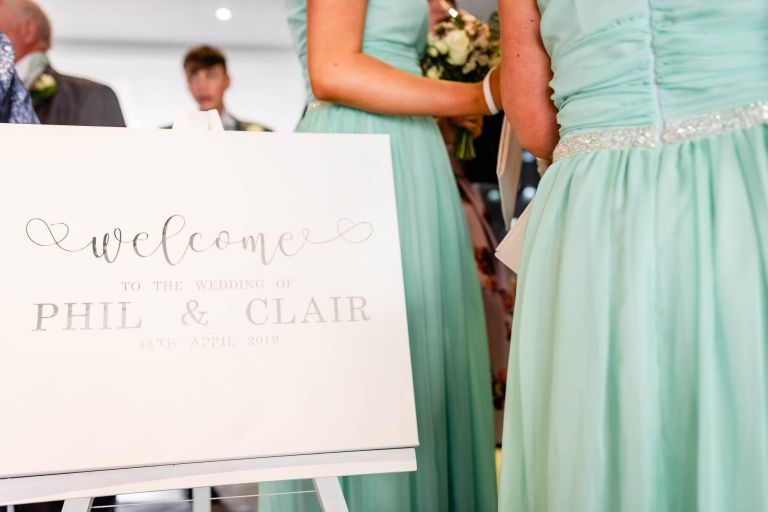 Welcome notice board for Clair & Phil's wedding