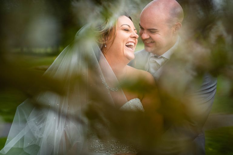 The happy couple share a joke